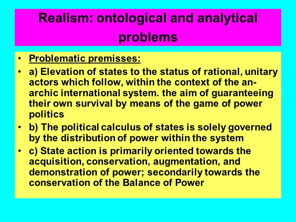 Realism: ontological and analytical problems