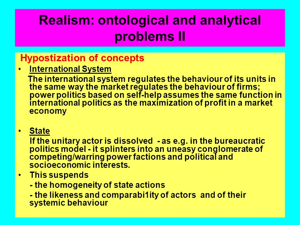 Realism: ontological and analytical problems II