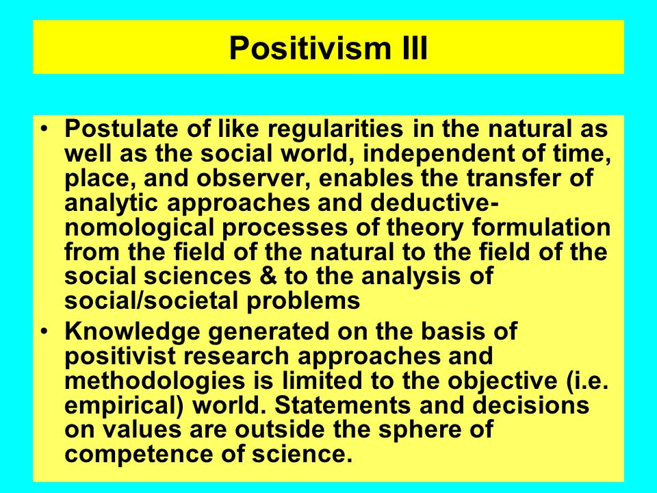 Positivism III
