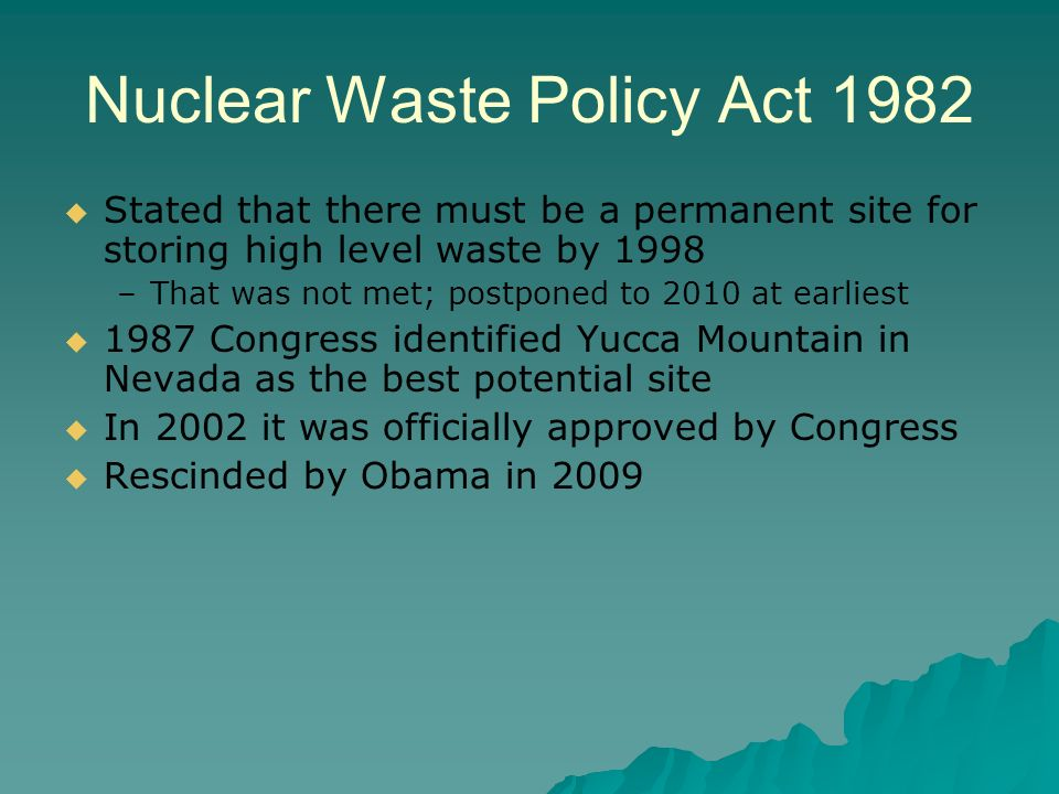Nuclear Waste Policy Act 1982