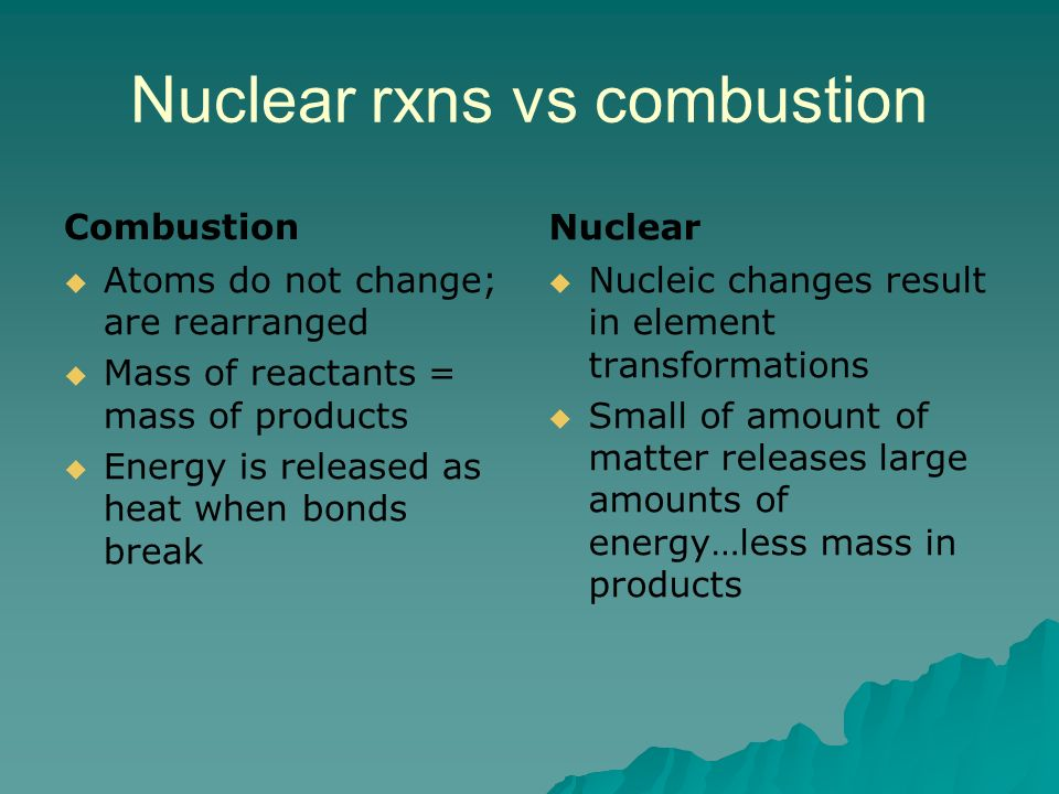 Nuclear rxns vs combustion