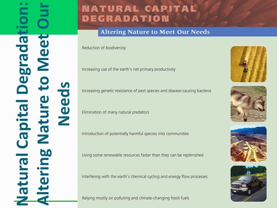 Natural Capital Degradation: Altering Nature to Meet Our Needs