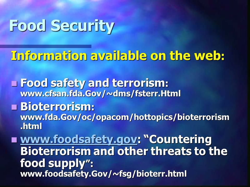Food Security Information available on the web: