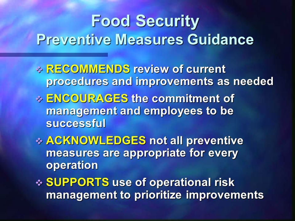 Food Security Preventive Measures Guidance