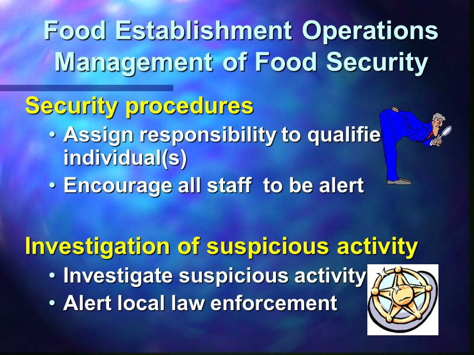 Food Establishment Operations Management of Food Security