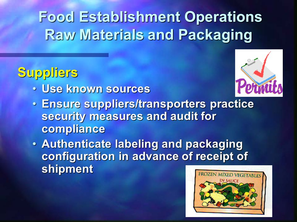 Food Establishment Operations Raw Materials and Packaging