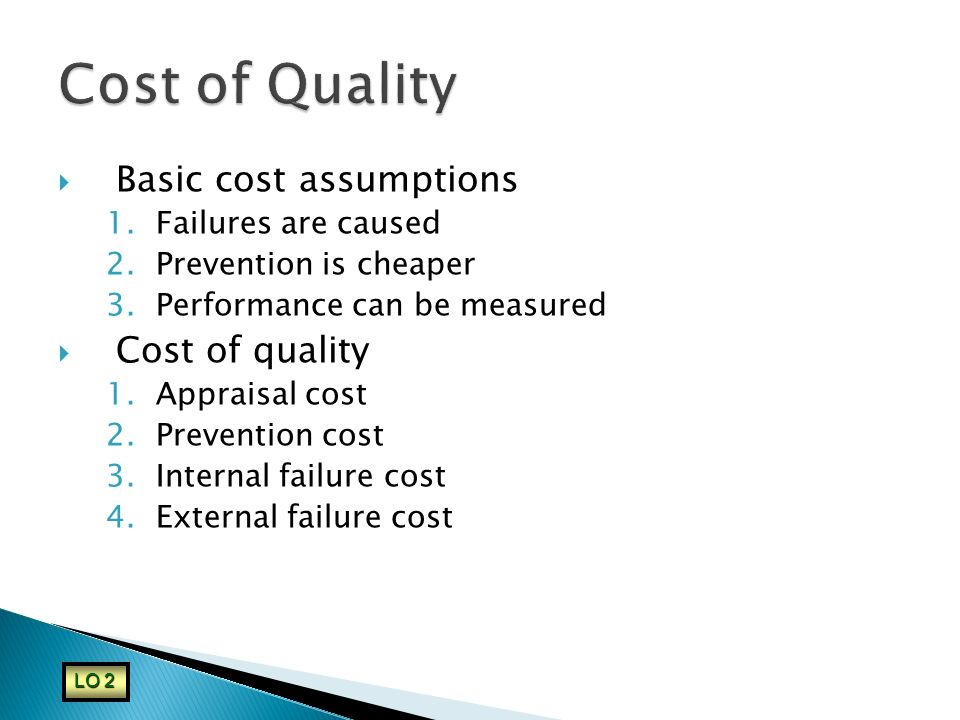 Cost of Quality Basic cost assumptions Cost of quality