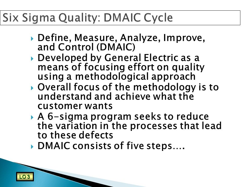 Six Sigma Quality: DMAIC Cycle