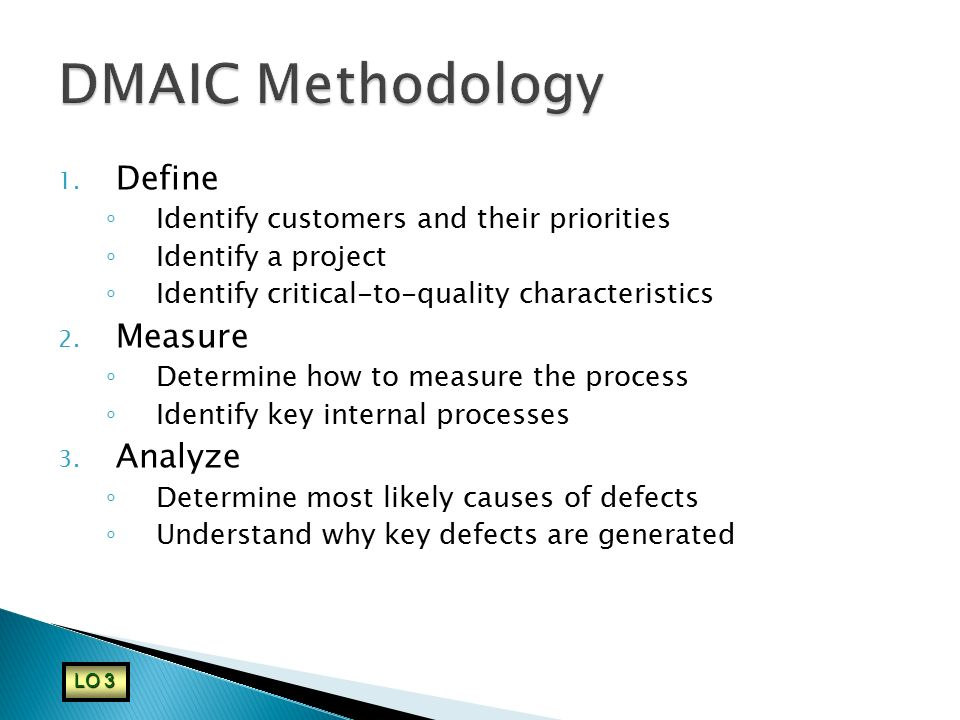 DMAIC Methodology Define Measure Analyze