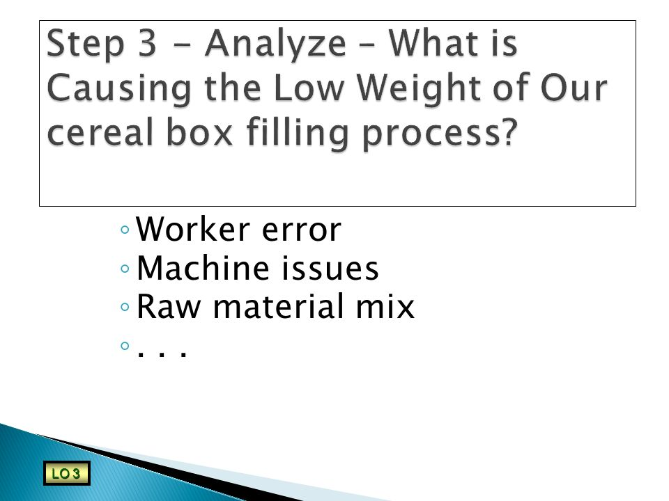 Step 3 - Analyze – What is Causing the Low Weight of Our cereal box filling process