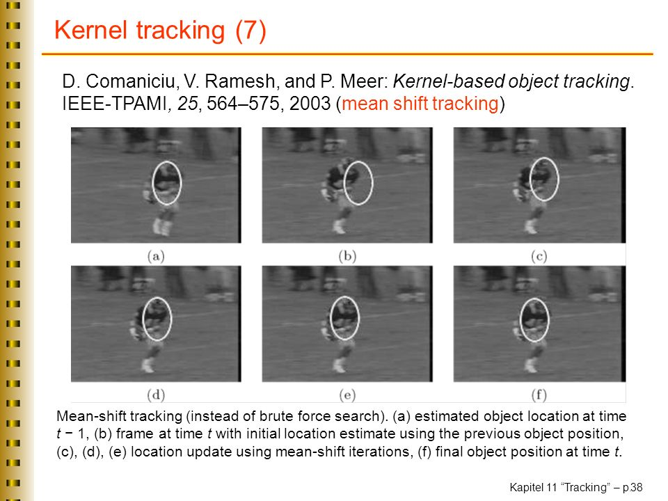 Kernel tracking (7) D. Comaniciu, V. Ramesh, and P. Meer: Kernel-based object tracking. IEEE-TPAMI, 25, 564–575, 2003 (mean shift tracking)