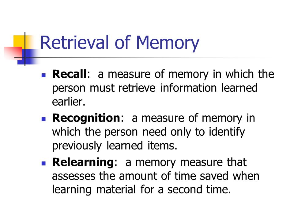 memory recall and recognition common object Abstract objective: to examine whether emotional memory (em) of objects with self-reference in alzheimer's disease (ad) can be modeled with binomial logistic regression in a free recall and an object recognition test to predict em enhancement.