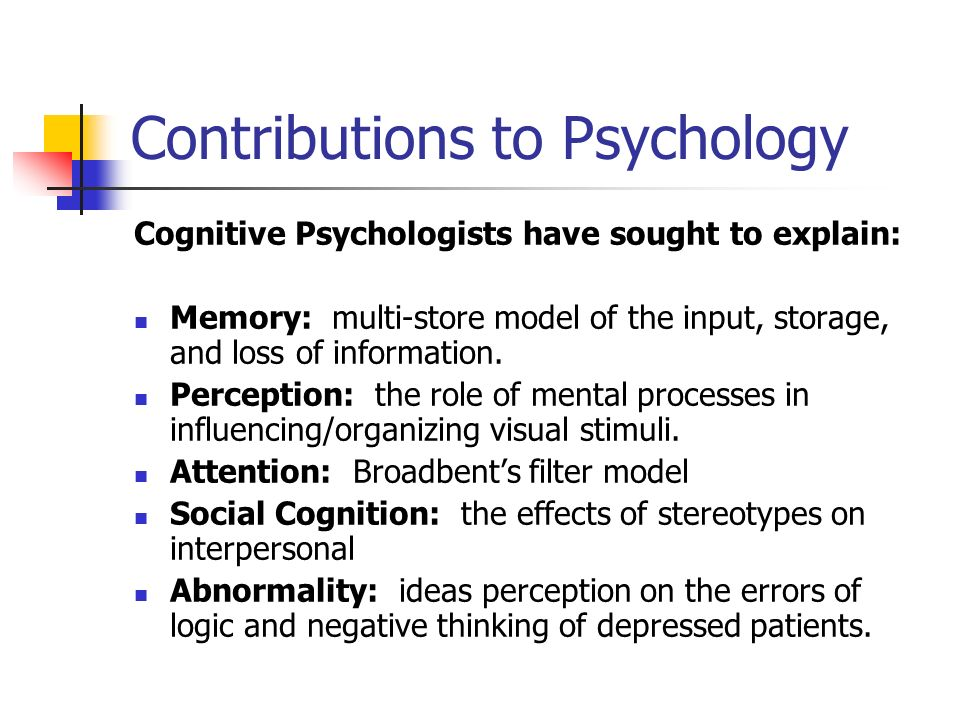cognitive contribution to psychology essay Method: following analysis of recent paradigm shifts in cognitive psychology and cognitive neuroscience, a narrative review is provided of key studies on expertise , attention and mental imagery in athletes results and conclusions: this paper shows that cognitive sport psychology has contributed significantly to theoretical.