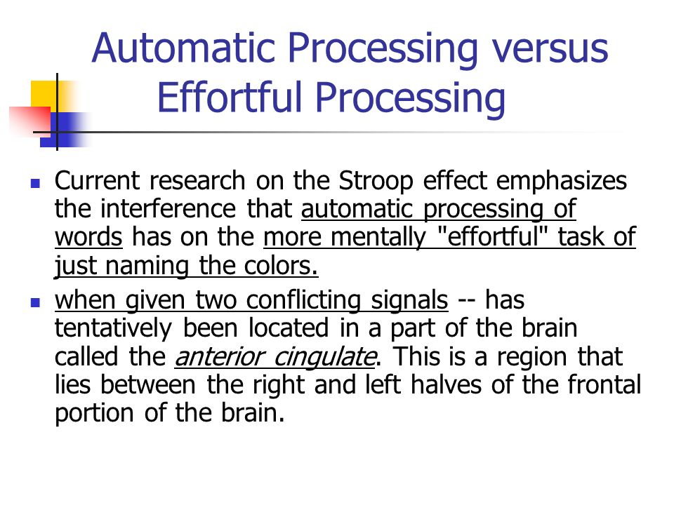 the effect of automatic processing Automatic processes and controlled processes are the two categories of  there  is also evidence that attention control has effects that last beyond the task.