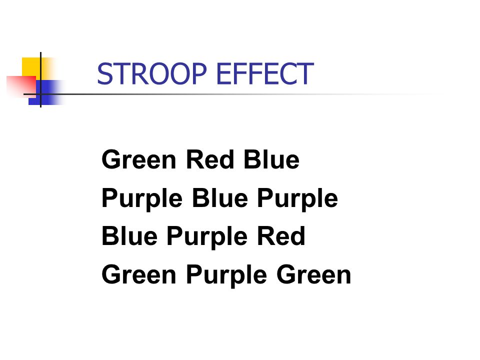 cognitive processing and the stroop effect Modelling the slow emotional stroop effect: suppression of cognitive control bradley wyblea dinkar sharmab howard bowmana a centre for cognitive neuroscience and cognitive systems, computing laboratory, university of canterbury canterbury, kent ct2 7np, uk.