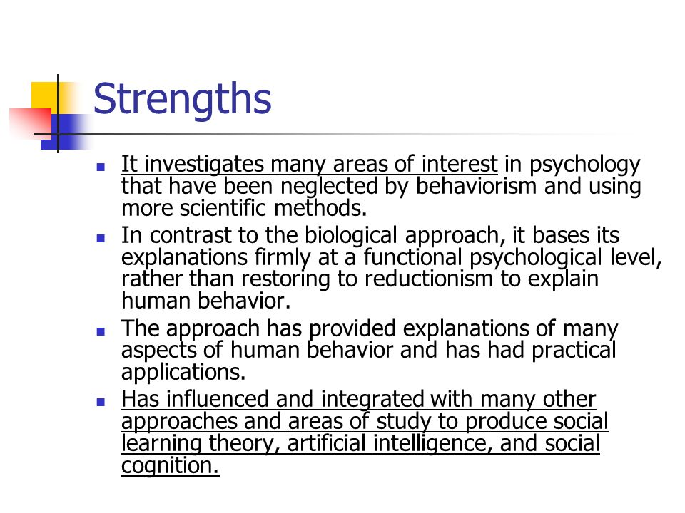 "the strengths and weaknesses of behaviorism Strengths and weaknesses  4 thoughts on "" strengths and limitations of behaviorism for human learning "" pingback: behaviourism."