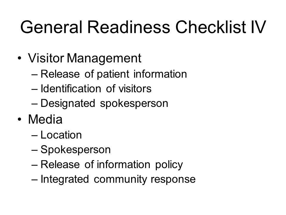 General Readiness Checklist IV