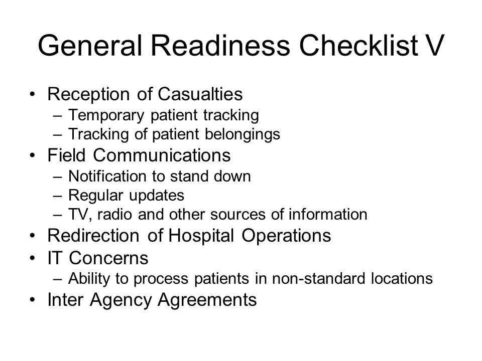 General Readiness Checklist V