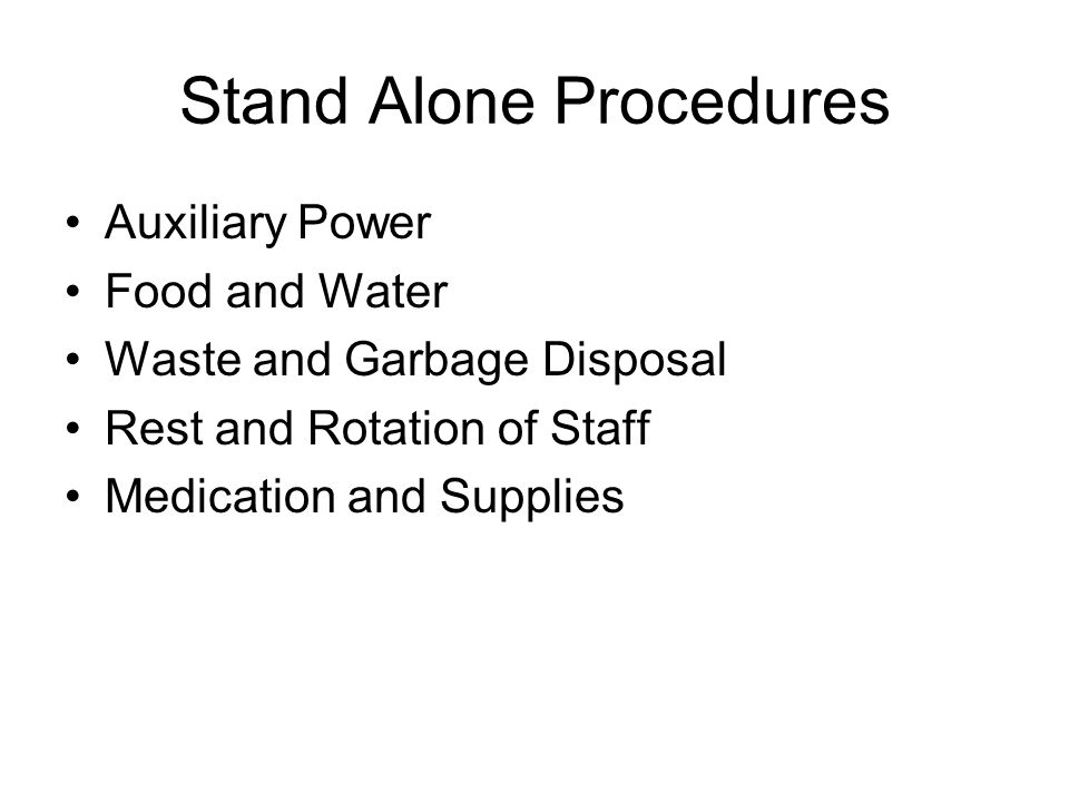 Stand Alone Procedures