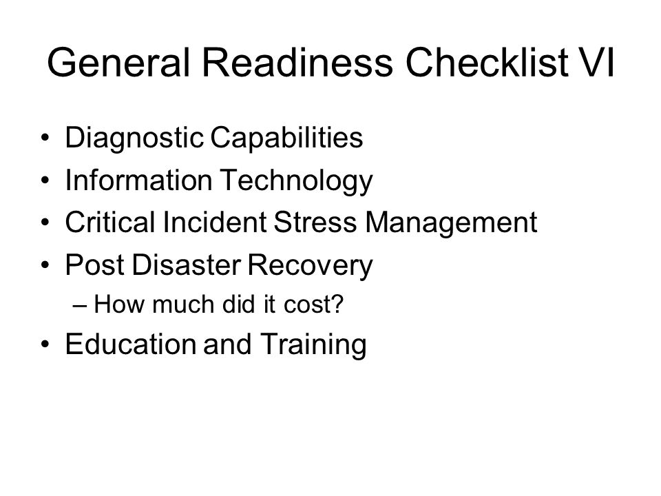 General Readiness Checklist VI
