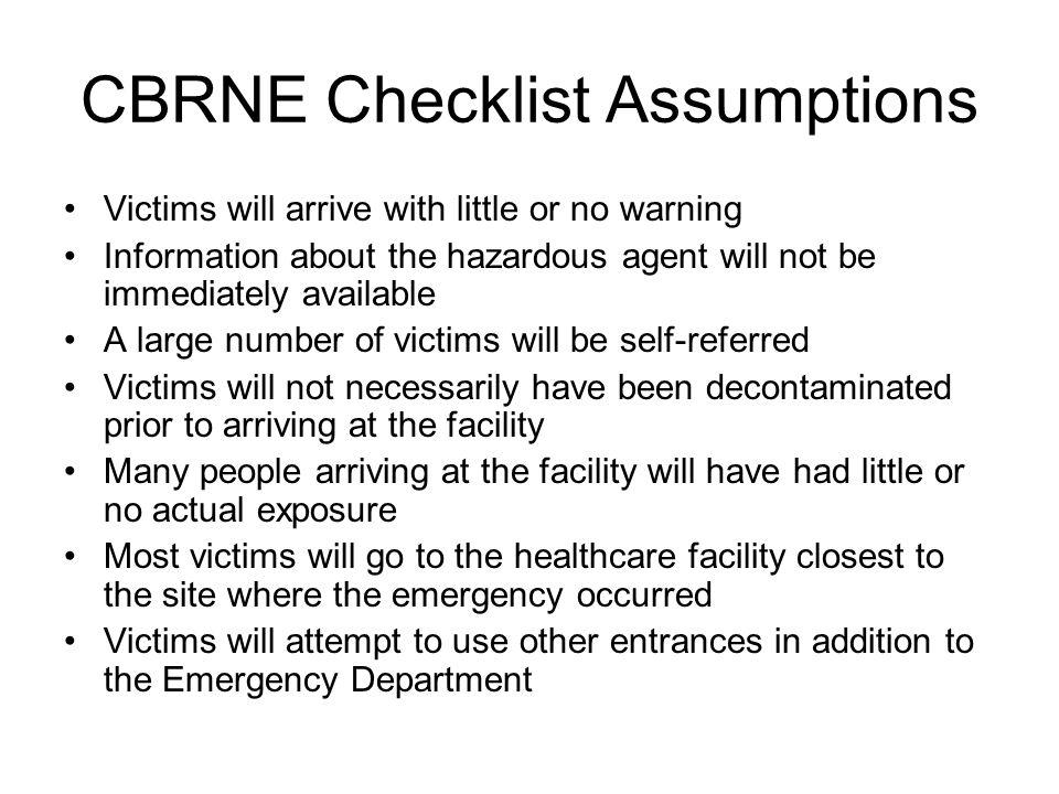 CBRNE Checklist Assumptions