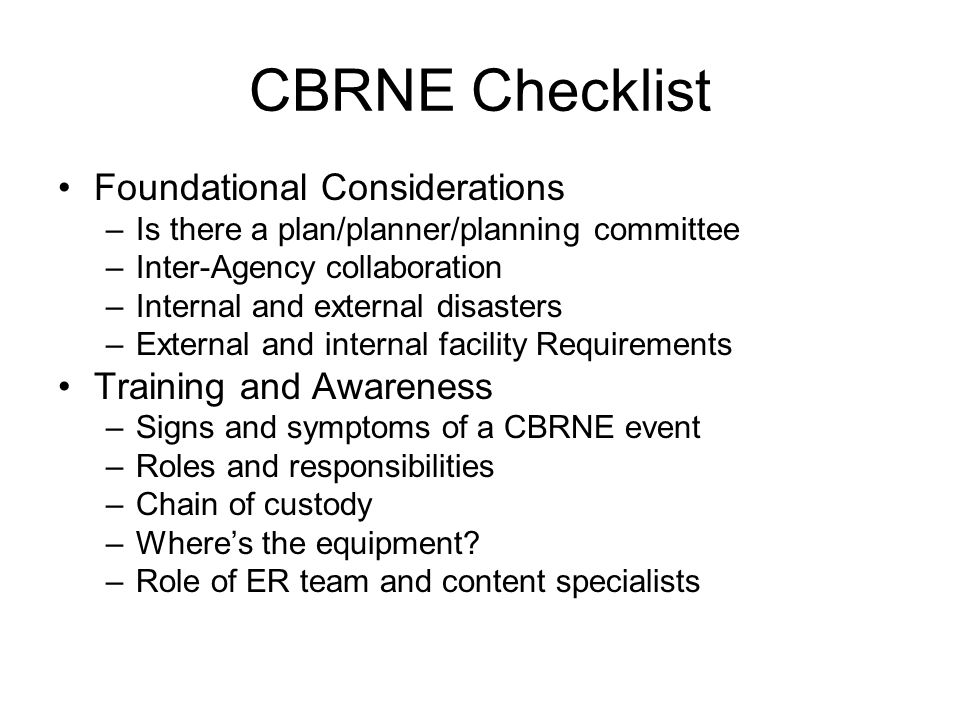 CBRNE Checklist Foundational Considerations Training and Awareness