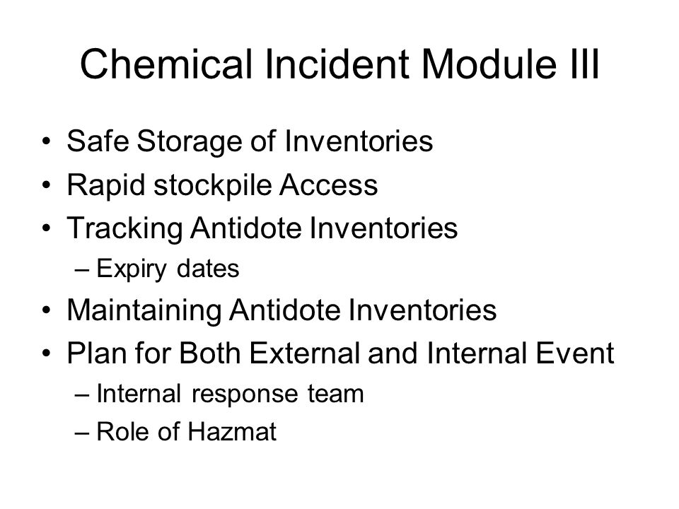 Chemical Incident Module III