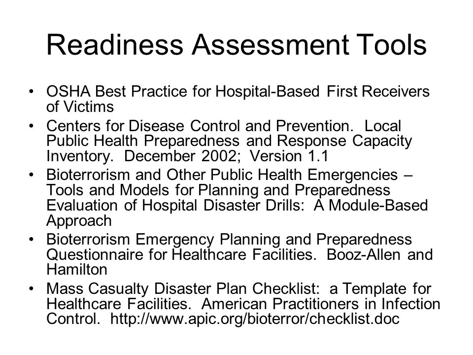 Readiness Assessment Tools