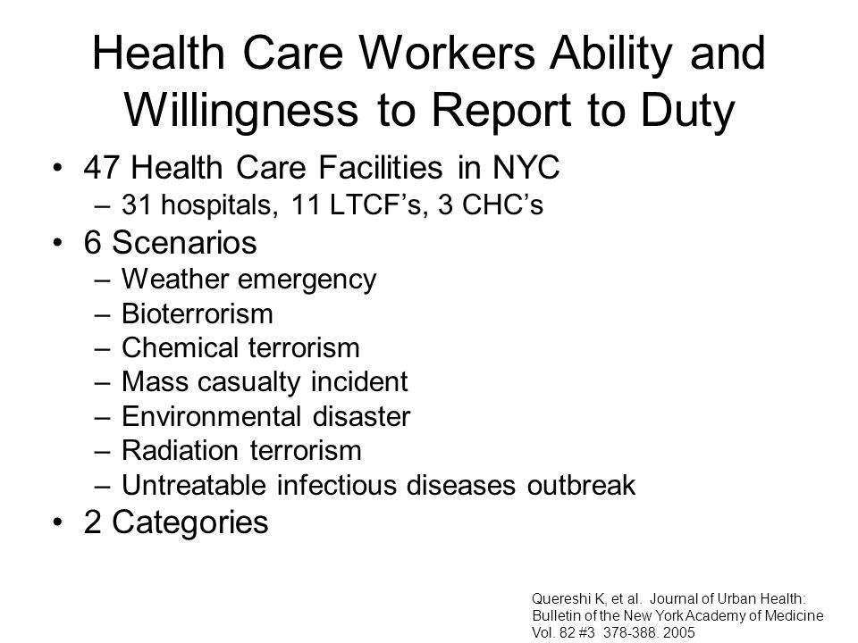 Health Care Workers Ability and Willingness to Report to Duty