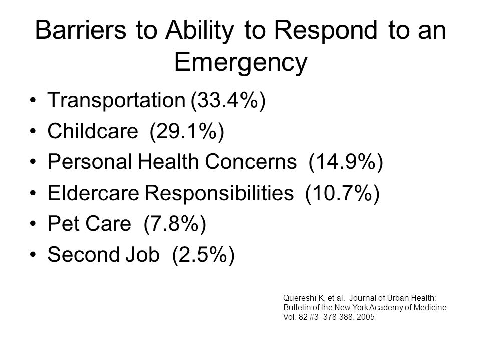 Barriers to Ability to Respond to an Emergency