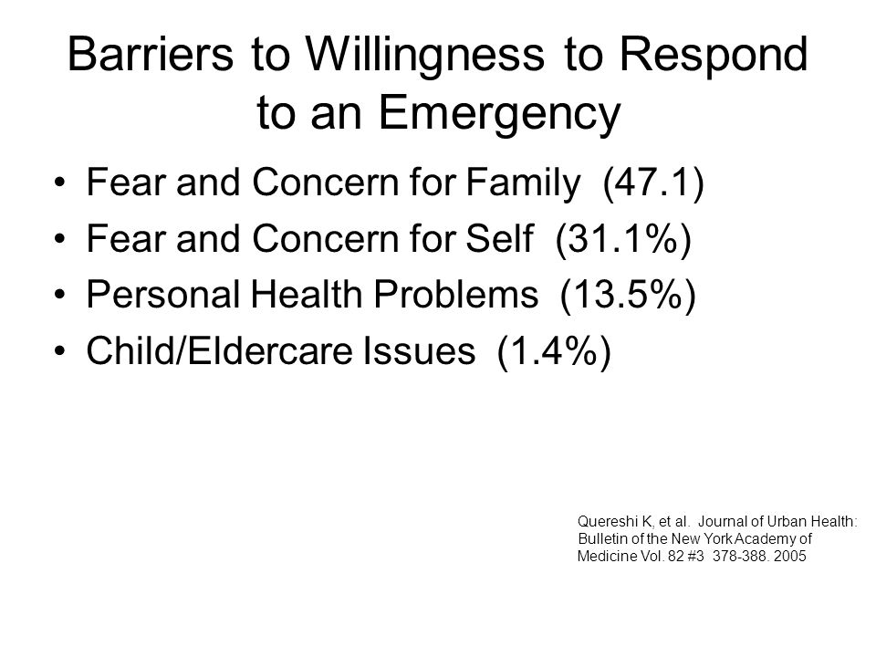 Barriers to Willingness to Respond to an Emergency