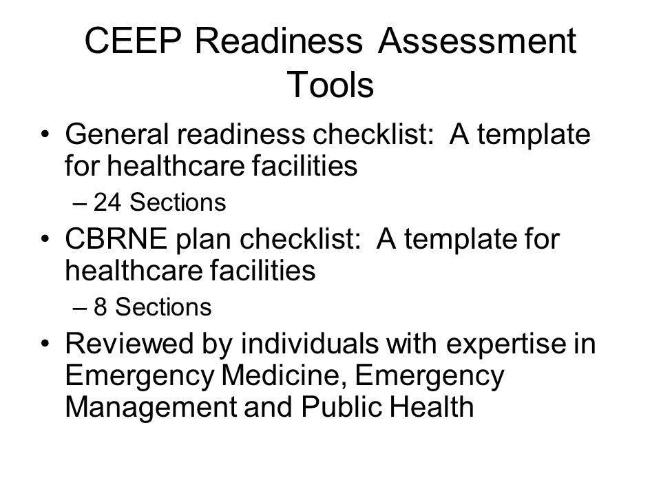 CEEP Readiness Assessment Tools