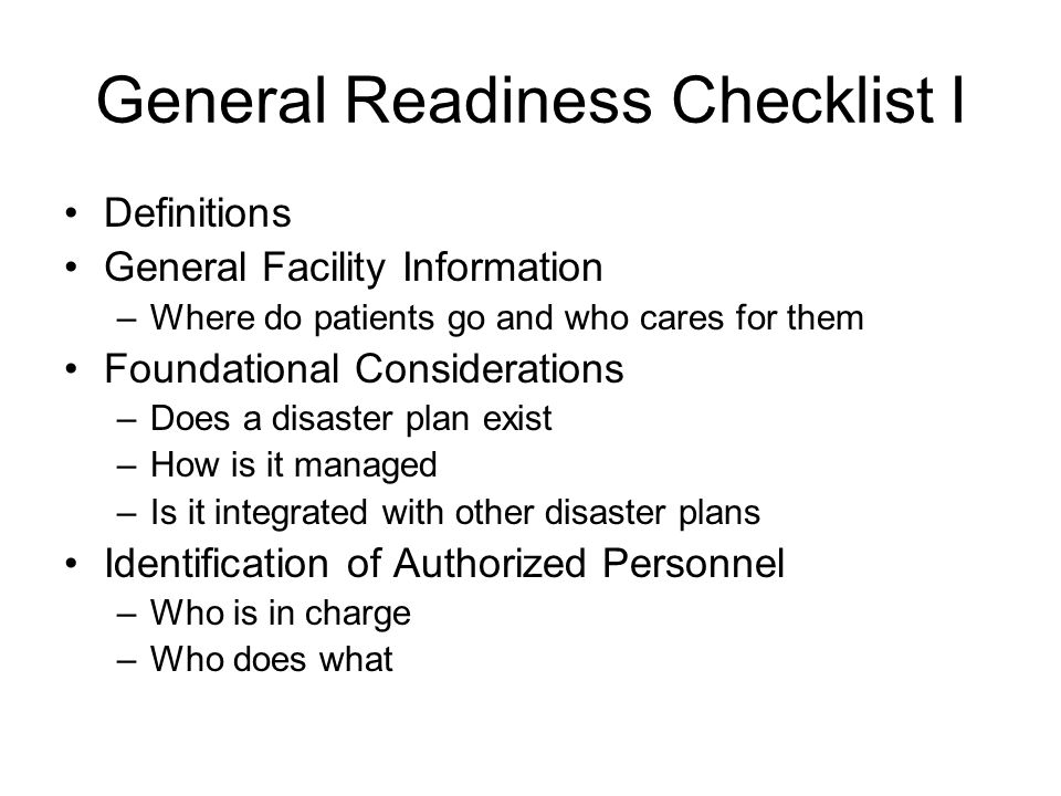 General Readiness Checklist I