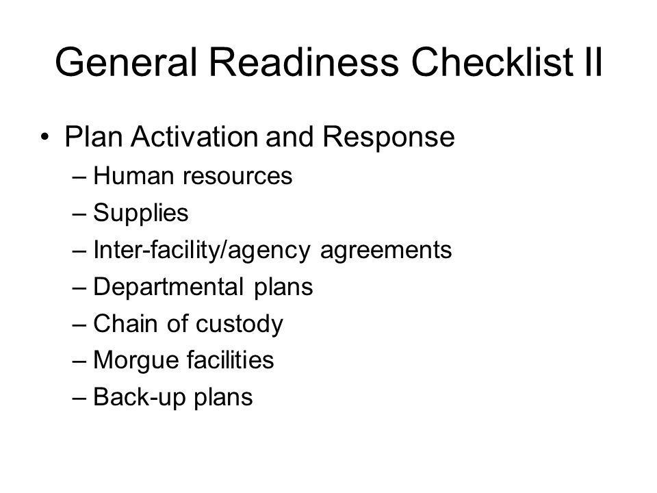 General Readiness Checklist II