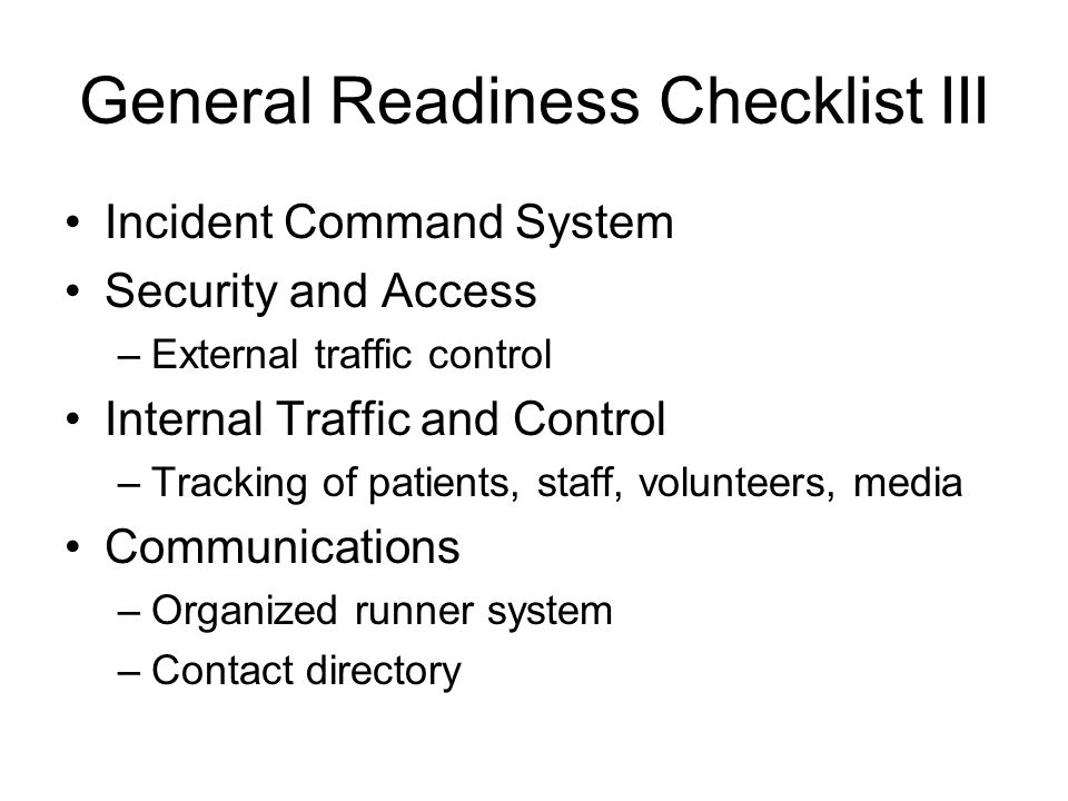 General Readiness Checklist III