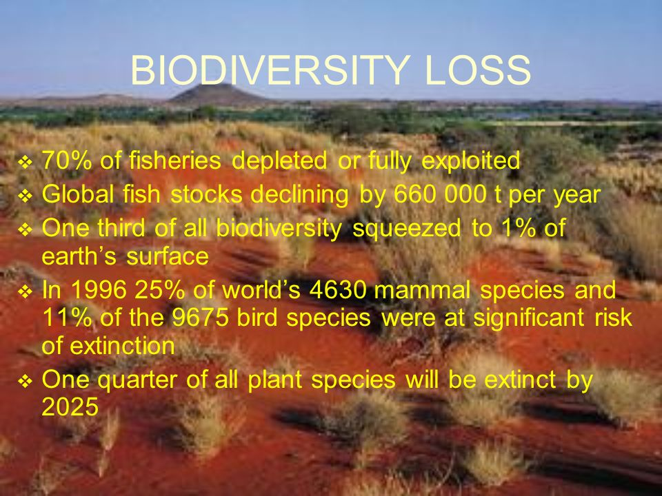 BIODIVERSITY LOSS 70% of fisheries depleted or fully exploited