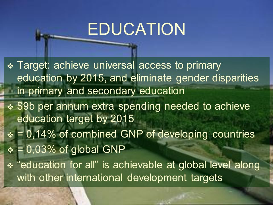 EDUCATION Target: achieve universal access to primary education by 2015, and eliminate gender disparities in primary and secondary education.