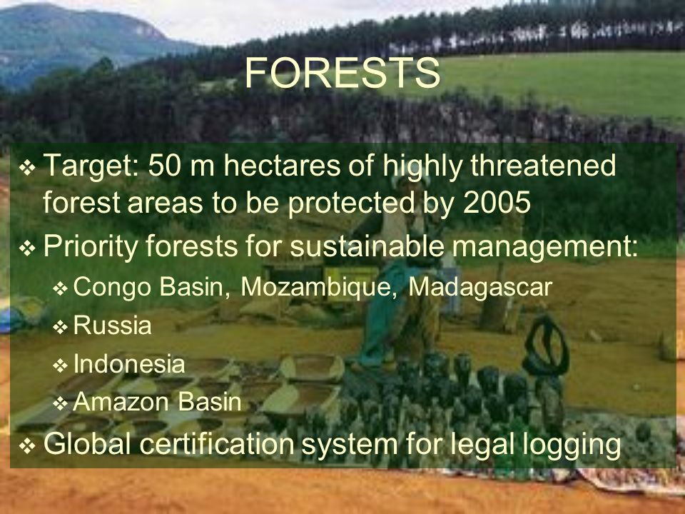 FORESTS Target: 50 m hectares of highly threatened forest areas to be protected by 2005. Priority forests for sustainable management: