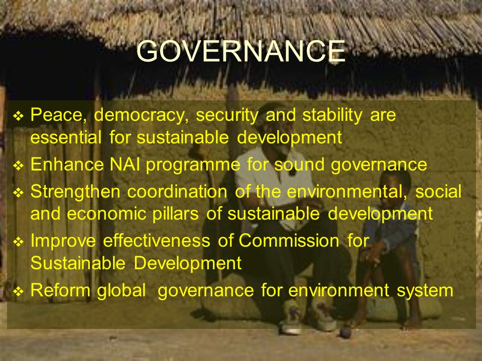 GOVERNANCE Peace, democracy, security and stability are essential for sustainable development. Enhance NAI programme for sound governance.
