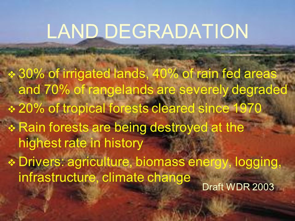 LAND DEGRADATION 30% of irrigated lands, 40% of rain fed areas and 70% of rangelands are severely degraded.
