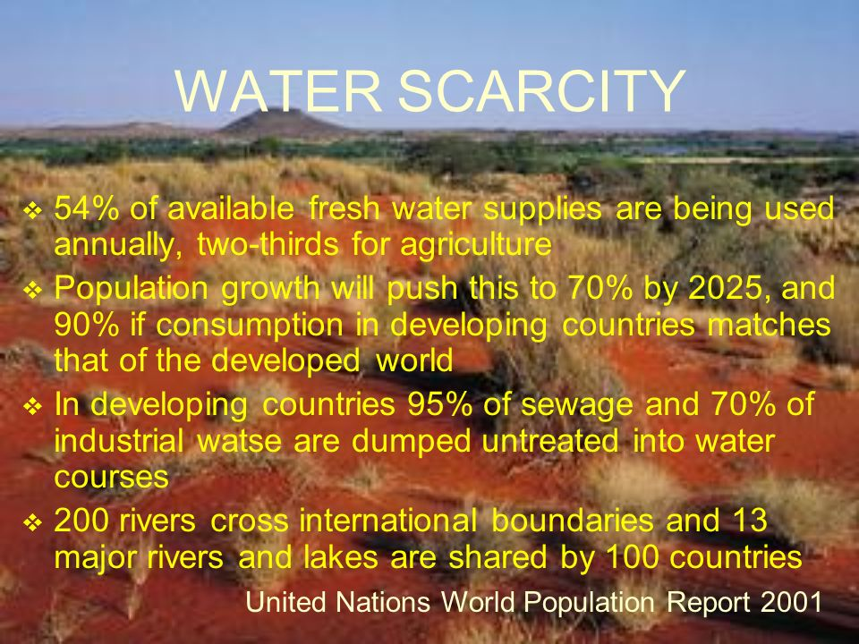 WATER SCARCITY 54% of available fresh water supplies are being used annually, two-thirds for agriculture.