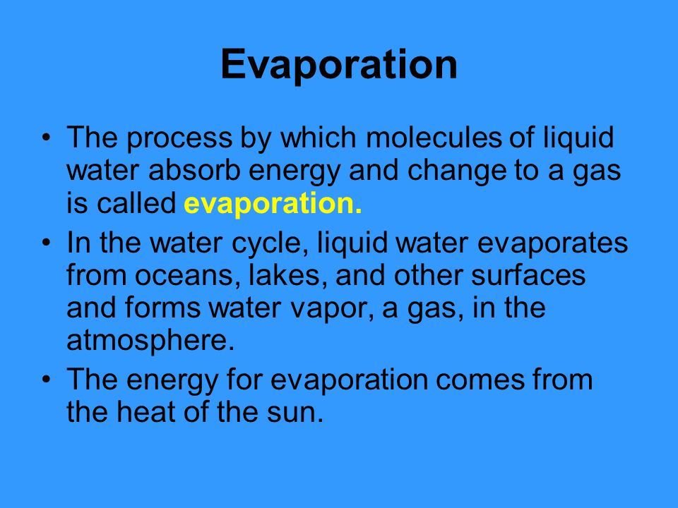Evaporation The process by which molecules of liquid water absorb energy and change to a gas is called evaporation.