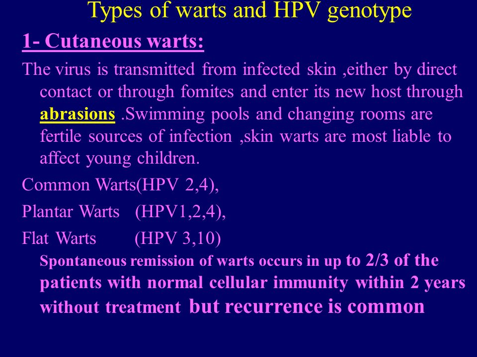 Types of warts and HPV genotype