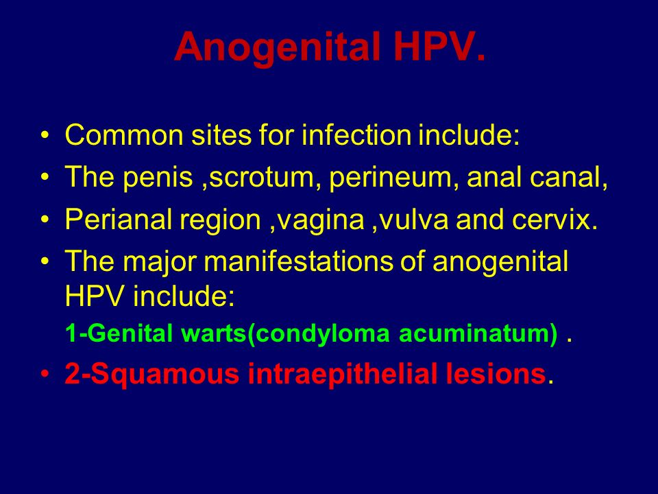 Anogenital HPV. Common sites for infection include: