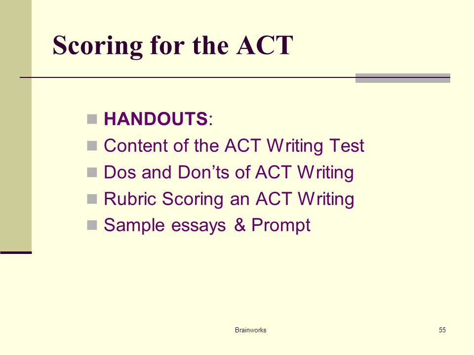 helping all students succeed at the act ppt scoring for the act handouts content of the act writing test