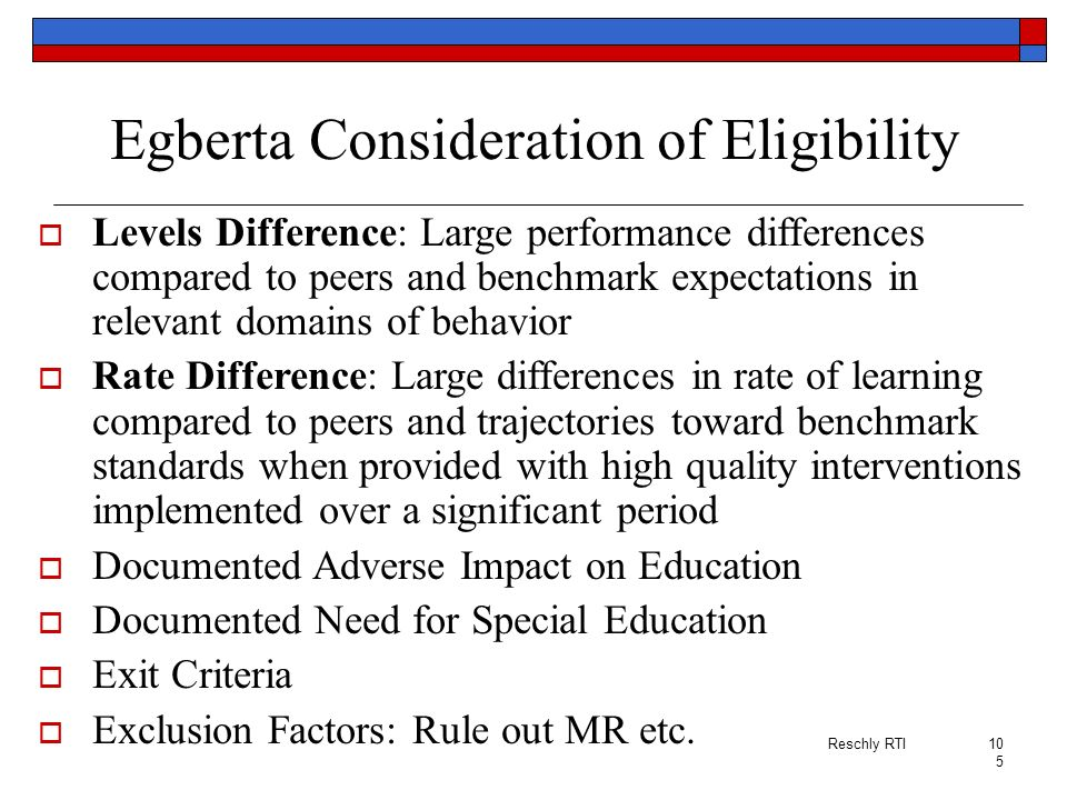 Egberta Consideration of Eligibility