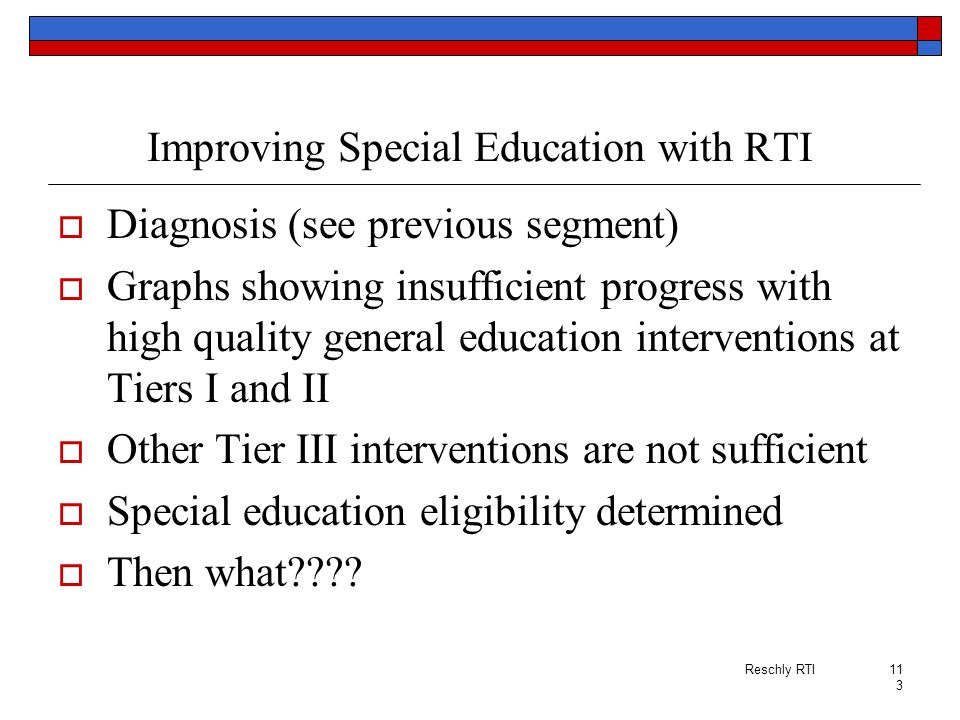 Improving Special Education with RTI