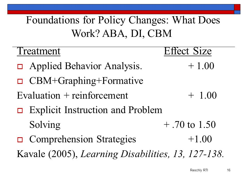Foundations for Policy Changes: What Does Work ABA, DI, CBM