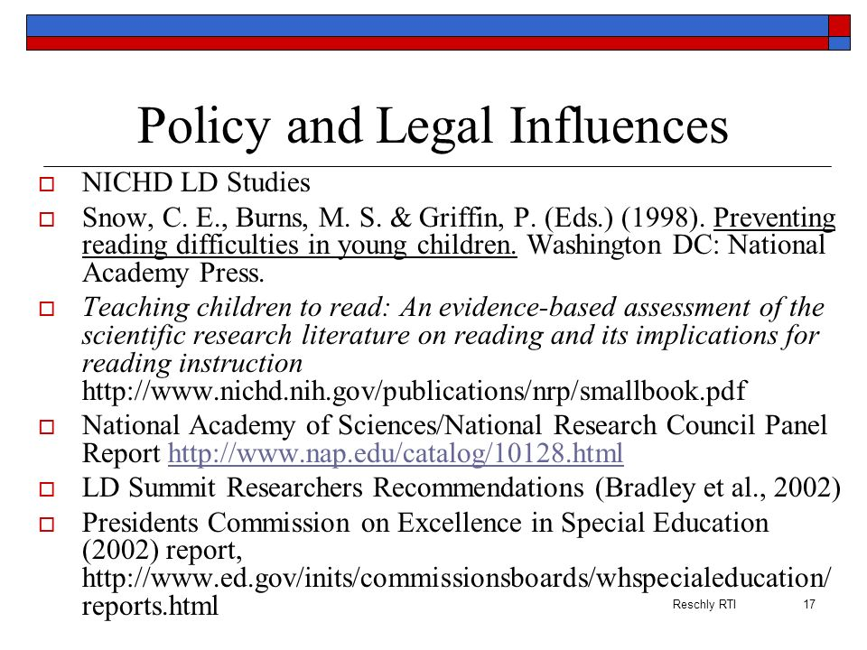 Policy and Legal Influences