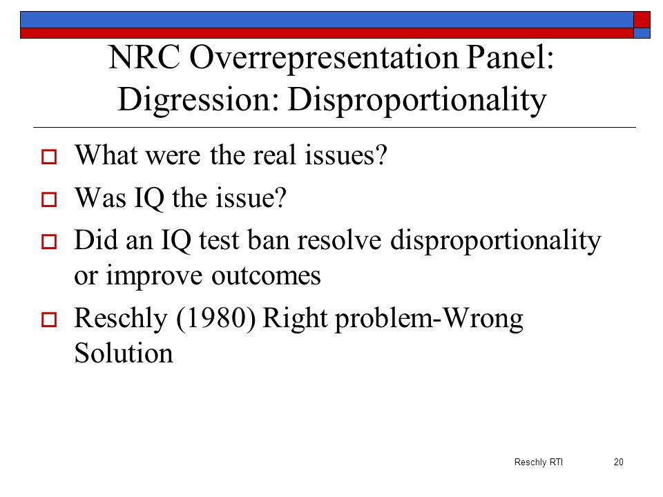 NRC Overrepresentation Panel: Digression: Disproportionality